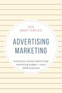 2018Budget Template advertising Marketing