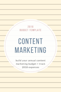 2018Budget Template content Marketing