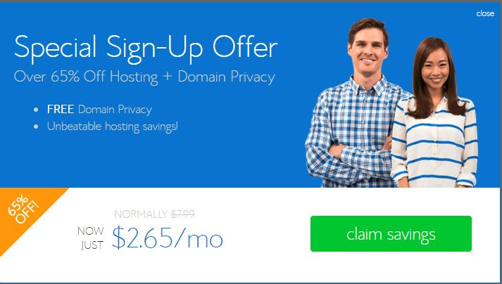 BlueHost special signup offer