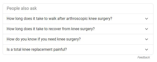 Google search results for knee surgery