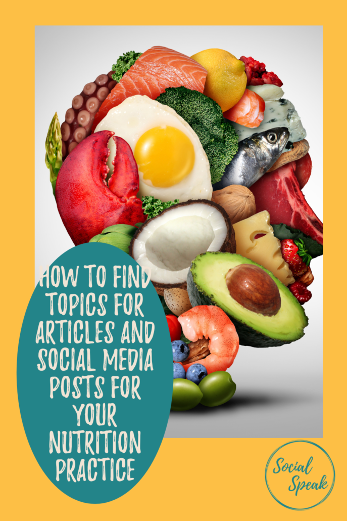How to find topics for articles and social media posts for your Nutrition Practice in 2021